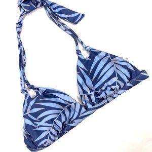 Xhilaration Blue Leaf Print Bikini Top Size Large